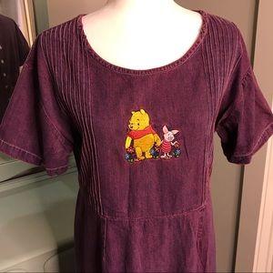 Vintage Disney purple denim dress Pooh & Piglet